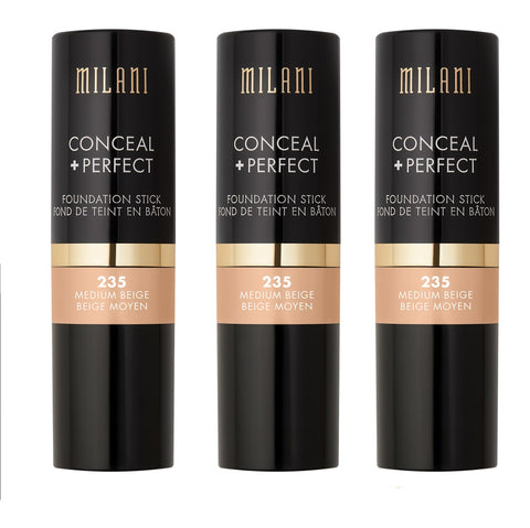 Pack of 3 Milani Conceal + Perfect Foundation Stick, Medium Beige 235