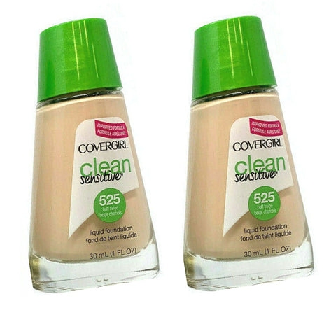 Pack of 2 CoverGirl Clean Sensitive Liquid Foundation, Buff Beige 525