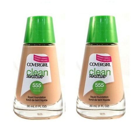 Pack of 2 CoverGirl Clean Sensitive Liquid Foundation, Soft Honey 555