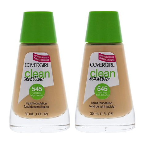 Pack of 2 CoverGirl Clean Sensitive Liquid Foundation, Warm Beige 545