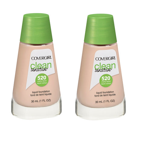 Pack of 2 CoverGirl Clean Sensitive Liquid Foundation, Creamy Natural 520