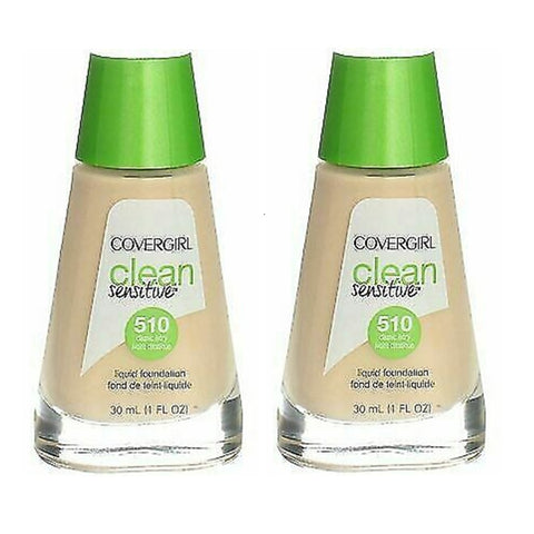 Pack of 2 CoverGirl Clean Sensitive Liquid Foundation, Classic Ivory 510
