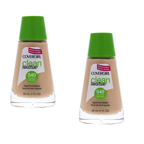 Pack of 2 CoverGirl Clean Sensitive Liquid Foundation, Natural Beige 540