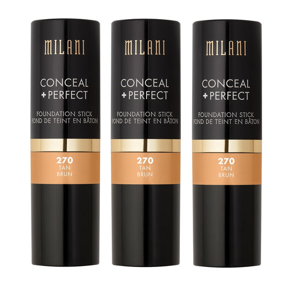 Pack of 3 Milani Conceal + Perfect Foundation Stick, Tan 270