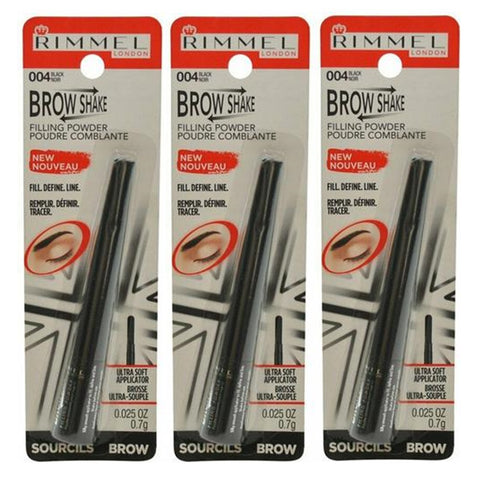 Pack of 3 Rimmel London Brow Shake Filling Powder, Black (004)