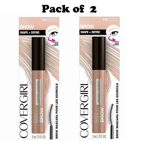 Pack of 2 CoverGirl Easy Breezy Brow Shape & Define Mascara, Soft Blonde 620
