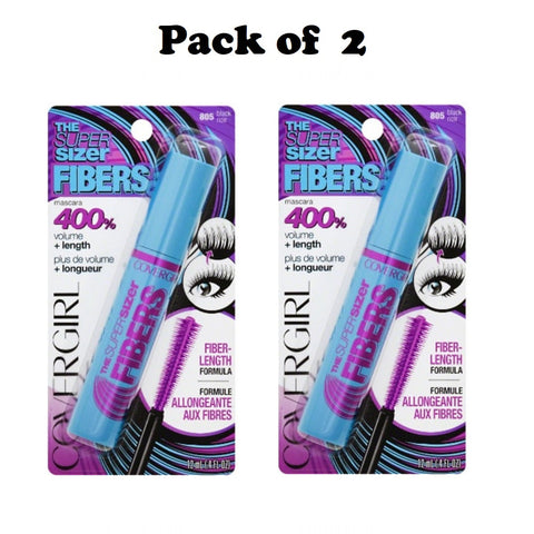 Pack of 2 CoverGirl The Super Sizer Fibers Mascara, Black 805