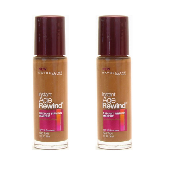 Pack of 2 Maybelline Instant Age Rewind Radiant Firming Makeup, Tan 340