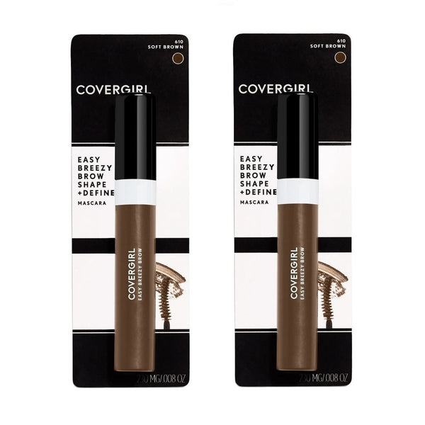 Pack of 2 CoverGirl Easy Breezy Brow Shape & Define Mascara, Soft Brown 610