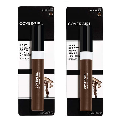 Pack of 2 CoverGirl Easy Breezy Brow Shape & Define Mascara, Rich Brown 605