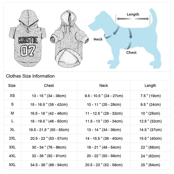 Custom Hoodie for Dogs Size Chart