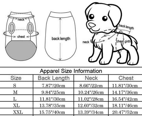 Dog Bodywarmer size chart