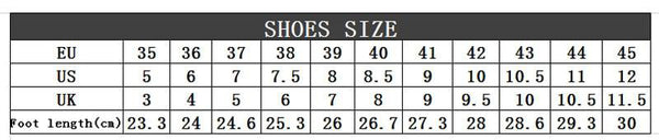 size chart shoes