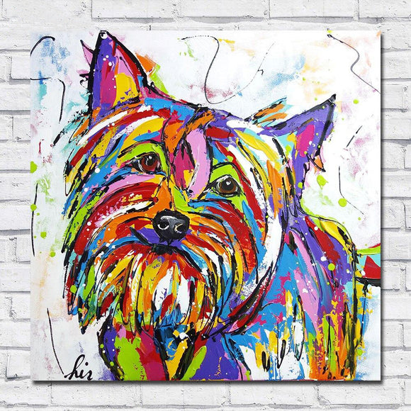 Oil Painting Canvas Print Terrier Wall Art Living Room Decor