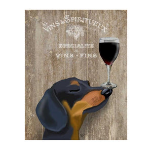 Dachsund  and Wine Canvas Print Wall Art Poster Home Decor