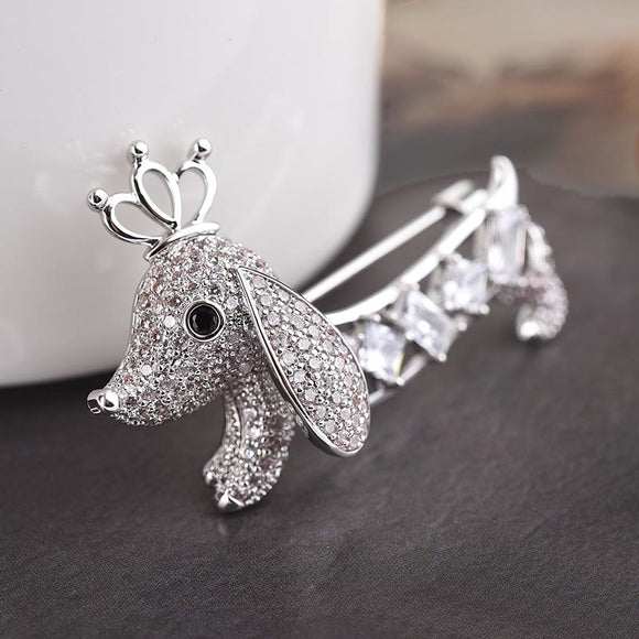 White Gold Plated Doxie Brooch
