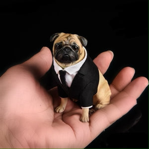Miniature Figurine Pug With Suit