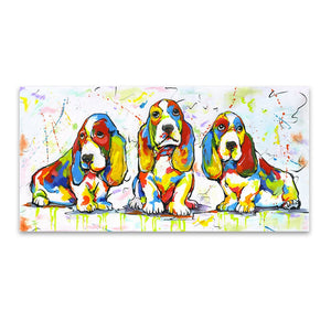 Wall Art Canvas Paint Basset Hounds