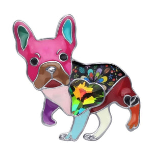 Enamel Rhinestone French Bulldog Brooch