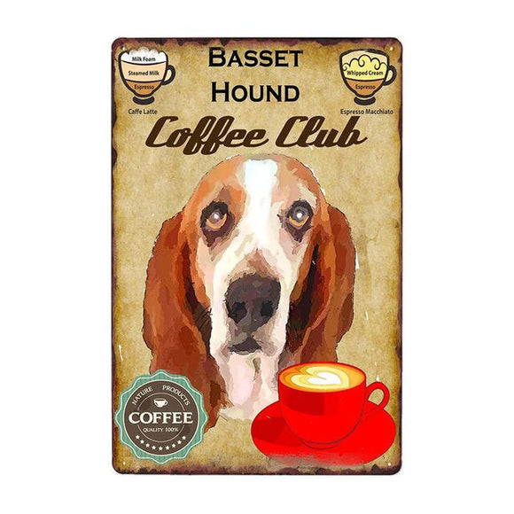 Vintage Sign Basset Hound Coffee Club