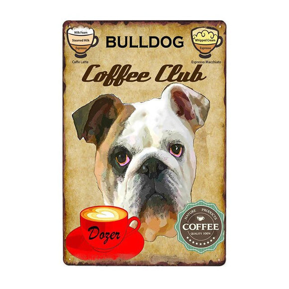 Vintage Sign English Bulldog Coffee Club