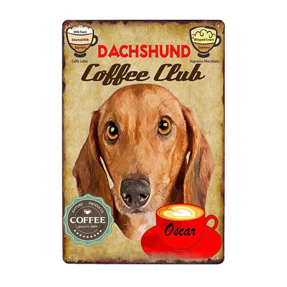 Vintage Sign Dachshund Coffee Club