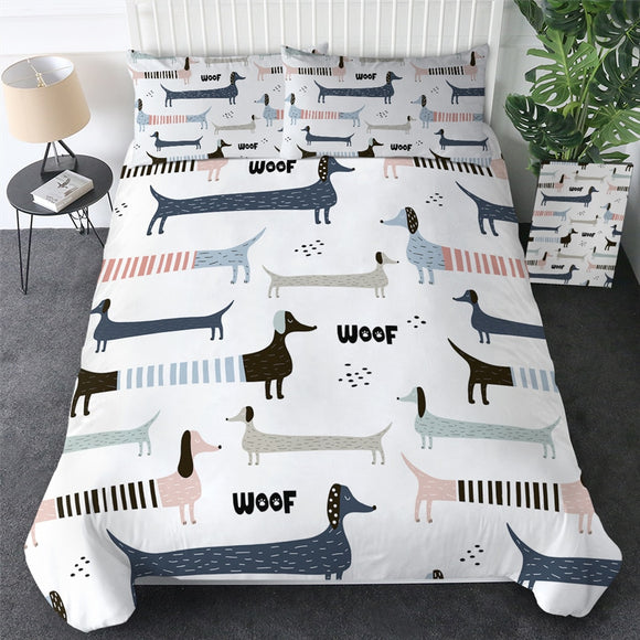 White Bedding Set Dachshund
