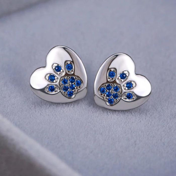 925 Sterling Silver Paw Print Stud Earrings