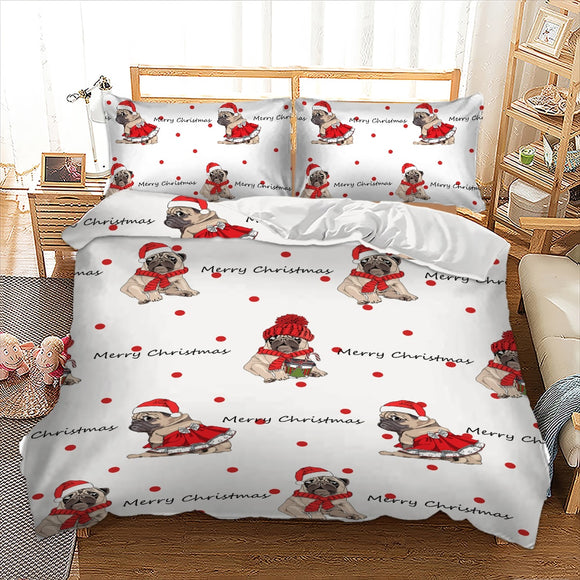 Christmas Pug Bedding Set Duvet Cover Bed Linnen