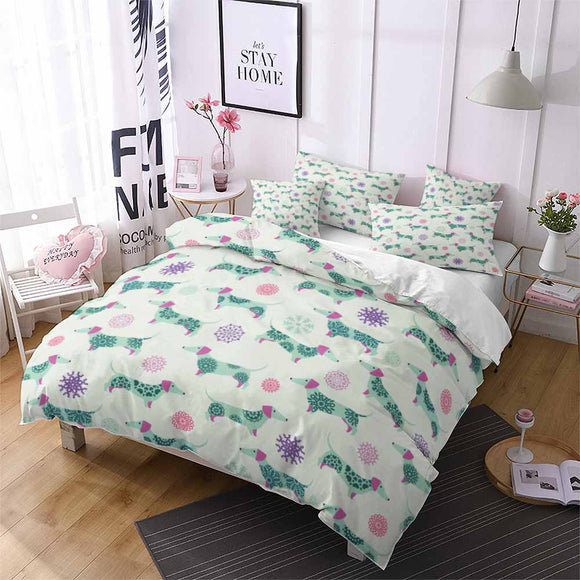 Bedding Set Floral Dachshund
