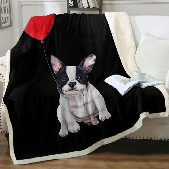 Sherpa Fleece Throw Blanket Boston Terrier French Bulldog