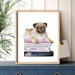 Canvas Print Pug on Books Wall Art Home Decor
