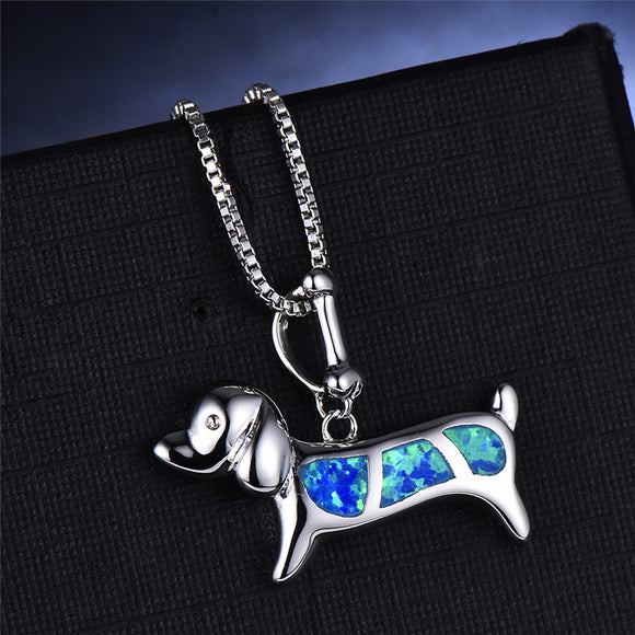 925 Sterling Silver Blue Opal Dachshund Pendant And Necklace For Women