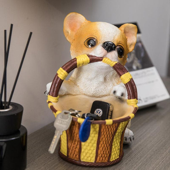 Corgi Resin Sculpture With Storage Basket