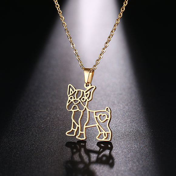 Stainless Steel Necklace French Bulldog Boston Terrier Dog