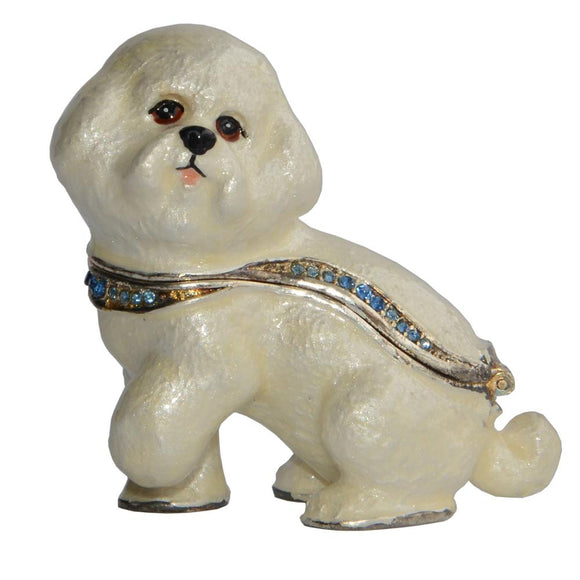 Bichon Figurine Jewelry Box Trinket  Keepsake Box  Sculpture Miniature