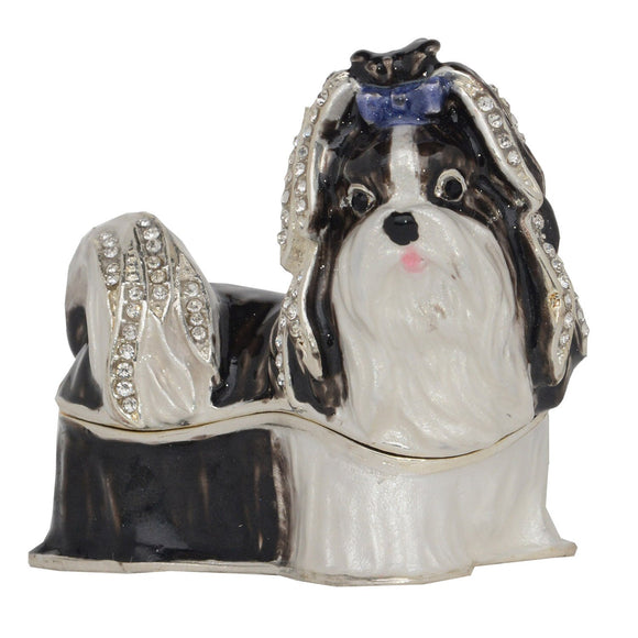 Shih Tzu Figurine Jewelry Box Keepsake Trinket Box