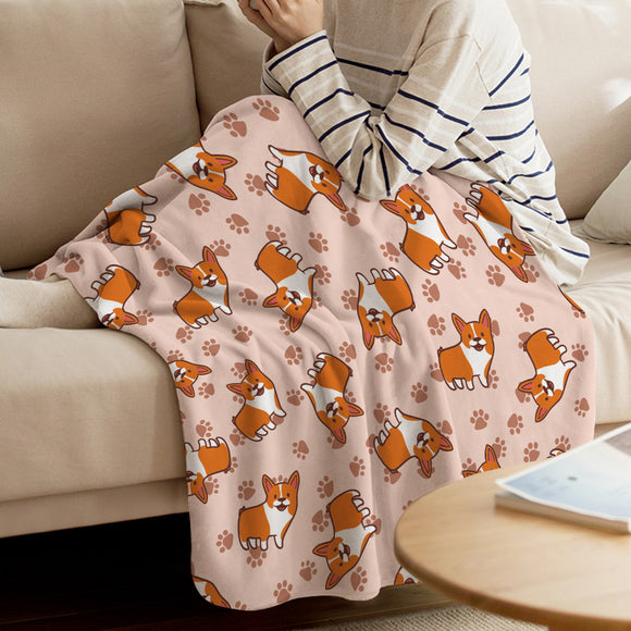 Corgi Coral Fleece Throw Blanket Warm Flannel Bed Spread
