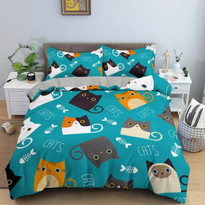 Cat Bedding Set Soft Duvet Cover Home Textile