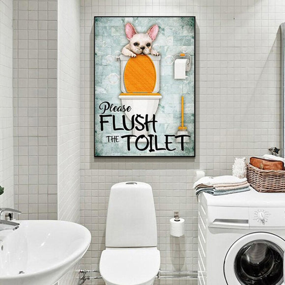 Please Flush the Toilet Canvas Print Wall Art Home Decor Poster Bathroom