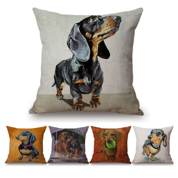 Oil Painting Dachshund Pillow Case