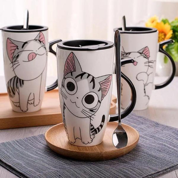 Creative Ceramic Cat Mug With Lid and Spoon