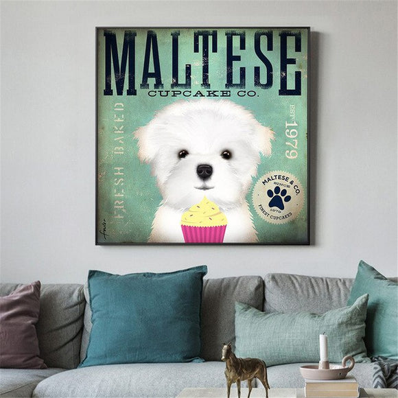 Vintage Style Maltese Canvas Print Wall Art Home Decor Poster