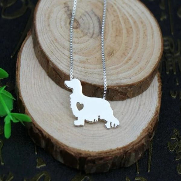 Necklace with Long-Haired Dachshund Pendant