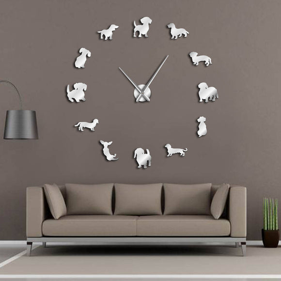 Wall Clock With Mirror Effect Sausage Dog