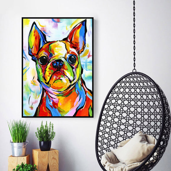 Home Decor Canvas Print Boston Terrier