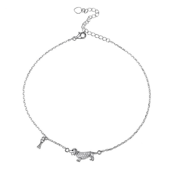 Sterling Silver Dachshund Anklet