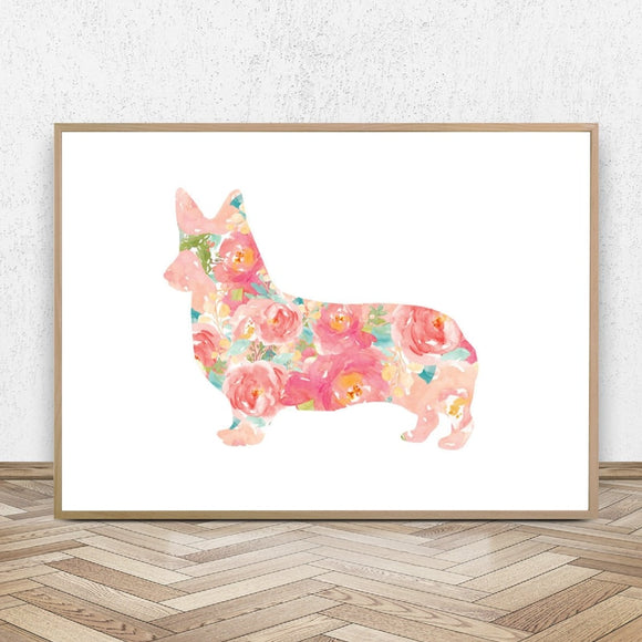 Home Decor Floral Corgi Wall Art