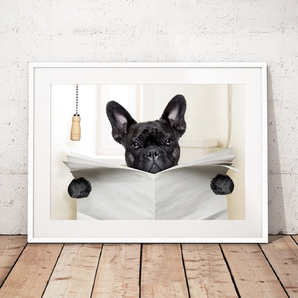 Wall Art French Bulldog Reading Newspaper Canvas Print