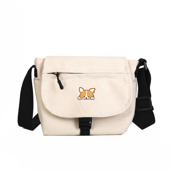 Corgi Canvas Handbag Dog Shoulder Bag Woman Kids